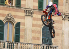 FMX Acrobatic Motorcycle Event 2010. This is an incredible jump in FMX motorcycle acrobatic event, Genoa (Italy Royalty Free Stock Photo