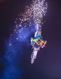 FMX motocross. LAS VEGAS - MAY 16 : unidentified rider giving FMX motorcross demonstration as part of the Helldorado days rodeo in Las Vegas on May 16 2015 Royalty Free Stock Photography