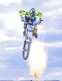 FMX motocross. LAS VEGAS - MAY 17 : unidentified rider giving FMX motorcross demonstration as part of the Helldorado days rodeo in Las Vegas on May 17 2015 Royalty Free Stock Photos