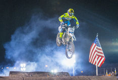 FMX motocross. LAS VEGAS - MAY 16 : unidentified rider giving FMX motorcross demonstration as part of the Helldorado days rodeo in Las Vegas on May 16 2015 Stock Image