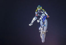 FMX motocross. LAS VEGAS - MAY 16 : unidentified rider giving FMX motorcross demonstration as part of the Helldorado days rodeo in Las Vegas on May 16 2015 Stock Photo