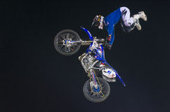 FMX motocross. RENO , USA - JUNE 30 : unidentified rider giving FMX motorcross demonstration as part of the Reno Rodeo a Professional Rodeo held in Reno ,USA on Royalty Free Stock Images