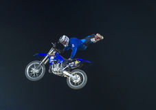 FMX motocross. RENO , USA - JUNE 30 : unidentified rider giving FMX motorcross demonstration as part of the Reno Rodeo a Professional Rodeo held in Reno ,USA on Royalty Free Stock Photos