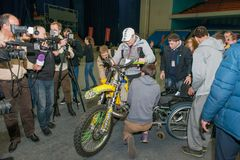 FMX rider Daice Suzuki ride a motorcycle Royalty Free Stock Image