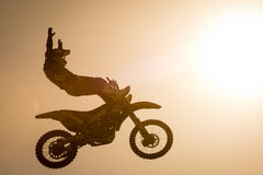 FMX rider performing trick Royalty Free Stock Photography