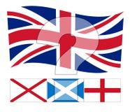 FN Förenade kungariket - den Union Jack flaggan ovanför irländaren, Scottis arkivbilder