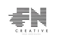 FN F N Zebra Letter Logo Design with Black and White Stripes Stock Images
