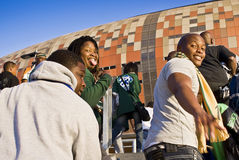 FNB Stadium - Fans Pour Into The Venue Stock Photos