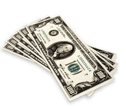 Fünf Banknoten von hundert Dollar auf Weiß Stockfoto