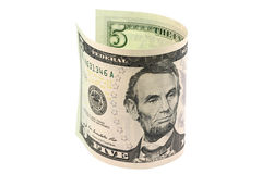 Fünf Dollar gerollt in einer Rolle Lizenzfreies Stockfoto