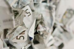 Fünf Eurorechnungen Stockfotos