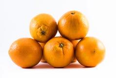 Fünf freundlich farbige Orangen auf einem weißen Hintergrund - konfrontieren Sie und ziehen Sie sich neben einander zurück Lizenzfreie Stockfotografie