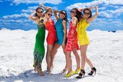 Fünf nette reizvolle Mädchen auf dem Schnee betriebsbereit zur Party Lizenzfreie Stockfotografie