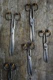 Fünf Paare der alten Scheren auf einem hölzernen Lizenzfreie Stockfotos