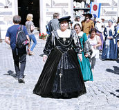 Fünf-petalled Rose Festival in Cesky Krumlov im tschechischen Republ Stockbild