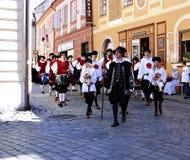 Fünf-petalled Rose Festival in Cesky Krumlov im tschechischen Republ Stockfotografie
