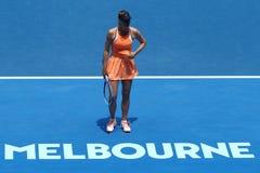 Fünfmal Grand Slam-Meister Maria Sharapova von Russland in der Aktion während des Viertelfinaleanpassung an Serena Williams Stockfotografie