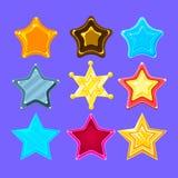 Fünfpunktige bunte Karikatur-Stern-Sammlung für grelle Videospiel-Belohnungen, Prämien und Aufkleber Lizenzfreie Stockfotografie