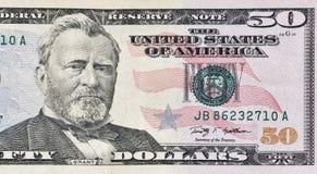 Fünfzig Dollarschein-Fragmentnahaufnahme Stockfoto