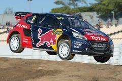 Fünfzig Gewinne für Sebastien Loeb in der WRC Meisterschaft Barcelona FIA World Rallycross Lizenzfreie Stockfotografie