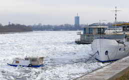 Fångat fartyg in i det djupfrysta Danubet River Royaltyfri Foto