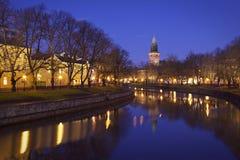 Fnland: Rivier Aurajoki in Turku stock foto