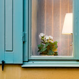 Fönster med lampan och blomman Arkivbild