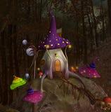Fntasy mushroom house with colorful little mushrooms stock illustration