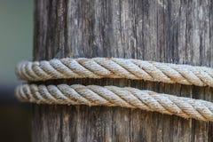 Fnuren av det tjocka repet som binds runt om en träinsats Arkivfoto