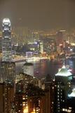 fo香港晚上场面 库存照片