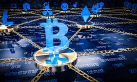 FO-blockchain Konzept des Hintergrundes 3d lizenzfreie abbildung