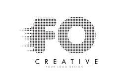 FO F O与黑小点和足迹的信件商标 免版税库存照片