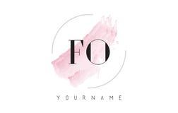 FO F O水彩信件与圆刷子样式的商标设计 库存照片
