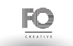 FO F O Black and White Lines Letter Logo Design. Stock Images