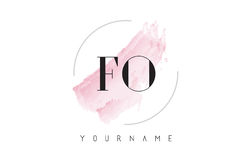 FO F O Watercolor Letter Logo Design with Circular Brush Pattern Stock Photo