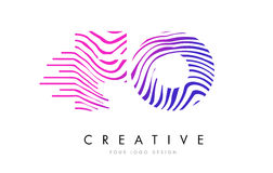 FO F O Zebra Lines Letter Logo Design with Magenta Colors Stock Photography