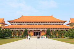 Fo Guang Shan buddist temple of Kaohsiung, Taiwan with many tourists walking by. Royalty Free Stock Image