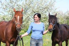 Γυναίκα και φοράδα κάστανων με foal Στοκ φωτογραφία με δικαίωμα ελεύθερης χρήσης