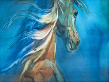 Foal in the meadow. Horse and cute foal. watercolor handmade illustration Royalty Free Stock Photo