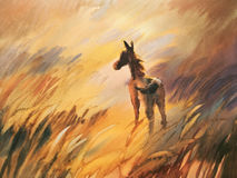 Foal in the meadow. Horse and cute foal. watercolor handmade illustration Royalty Free Stock Photography