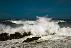 Foam. Strong storm on the coast of galicia Royalty Free Stock Photography