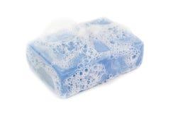 Foam on blue soap Stock Photo
