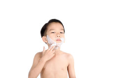 Foam on the boy face Stock Image