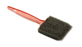 Foam brush. With plastic handle isolated on a white background Stock Photo