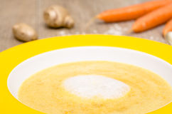 Foam of coconut milk on a carrot soup Stock Photos