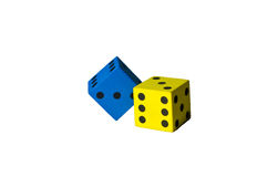 Foam dice. Blue and yellow foam dice cut-out Royalty Free Stock Photography