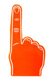 Foam fan finger on a white background. An orange foam fan finger on a white background Royalty Free Stock Image