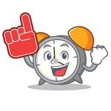 Foam finger alarm clock mascot cartoon. Vector illustration Royalty Free Stock Photos