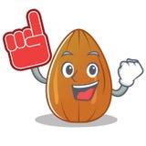 Foam finger almond nut character cartoon Stock Images