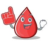 Foam Finger Blood Drop Cartoon Mascot Character Royalty Free Stock Images
